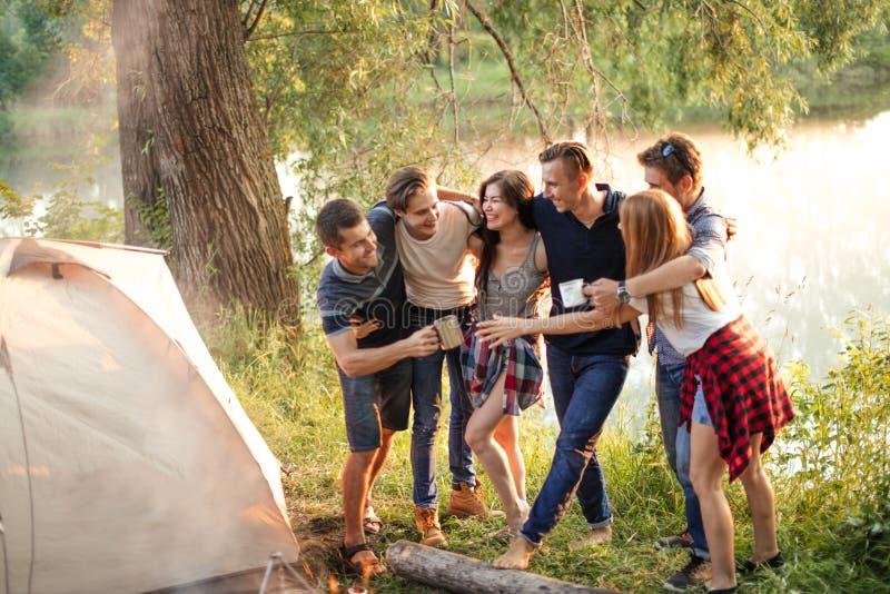 Les amis gais apprécient leur repos dans le paysage merveilleux photo stock