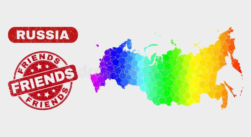 Les amis spectraux de carte et de détresse de la Russie de mosaïque emboutissent le joint illustration stock