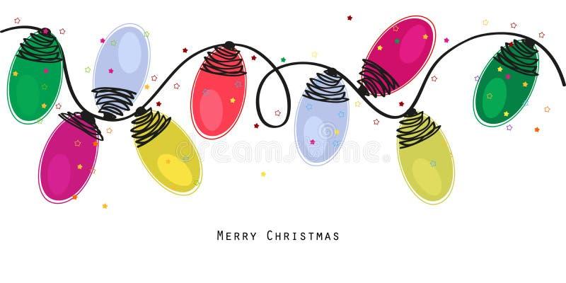 Les ampoules colorées de Noël avec des étoiles dirigent le fond illustration libre de droits
