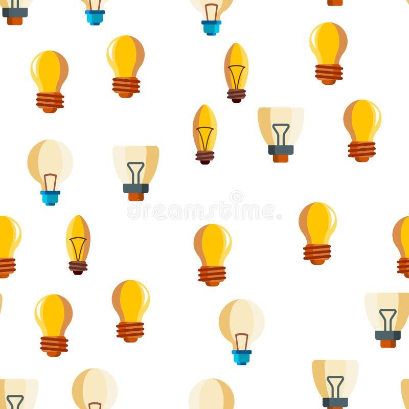 Les ampoules plates et les icônes linéaires dirigent le modèle sans couture illustration stock