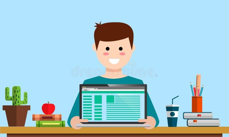 Les analytics numériques de planification de srartup de vente de gestion conçoivent le salaire par actions sociales d'analyse de  illustration de vecteur