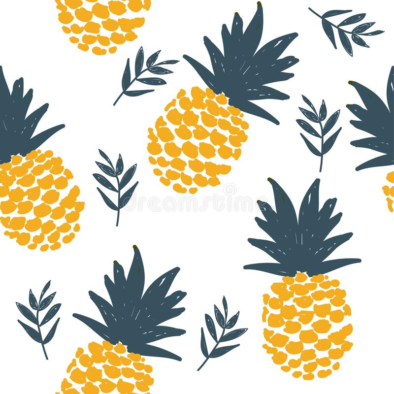 Les ananas frais dirigent pattrern sans couture de répétition illustration stock