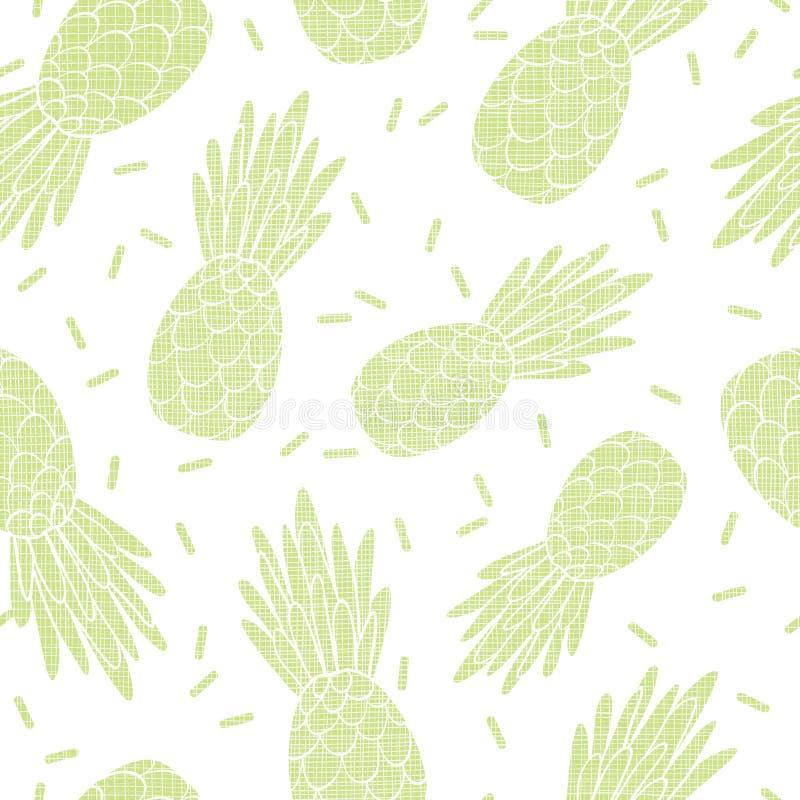 Les ananas texturisés verts d'amusement répètent la copie de modèle illustration stock