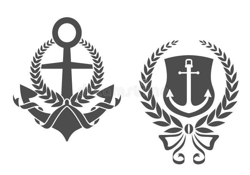 Ancres marines avec des rubans illustration libre de droits