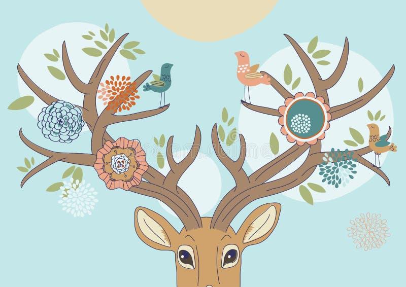 Les andouillers du cerf commun au printemps illustration libre de droits