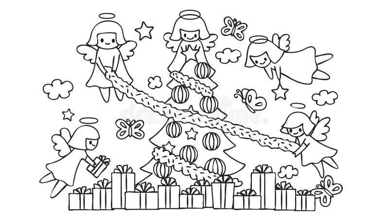 Les anges mignons pilotant l'aide décorent l'arbre de Noël, pour l'élément de conception et la page de livre de coloriage pour de illustration de vecteur