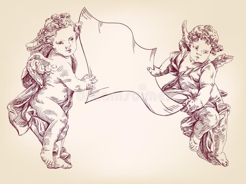 Les anges ou le cupidon tiennent une page blanche de croquis tiré par la main de llustration de vecteur de messages illustration de vecteur