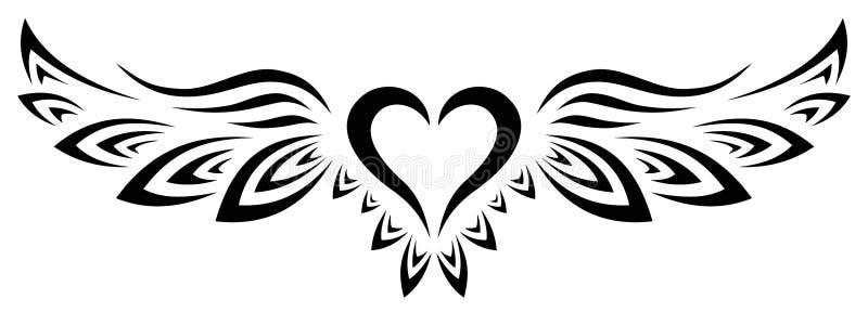 Les Anges Tribaux Tattoo Coeur avec les ailes photos stock