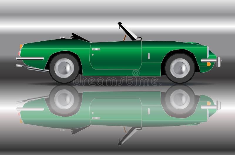 Les Anglais emballant la voiture de sport verte illustration libre de droits