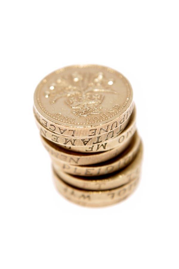 Les Anglais pièces de monnaie d'une livre image stock