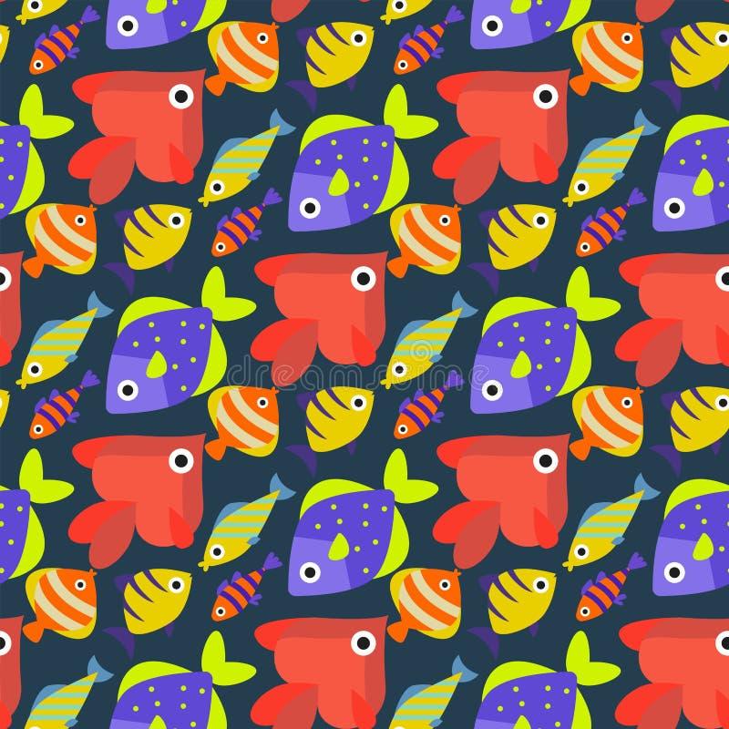 Les animaux aquatiques tropicaux de cuvette sous-marine de poissons d'océan d'aquarium arrosent le fond sans couture de modèle de illustration stock