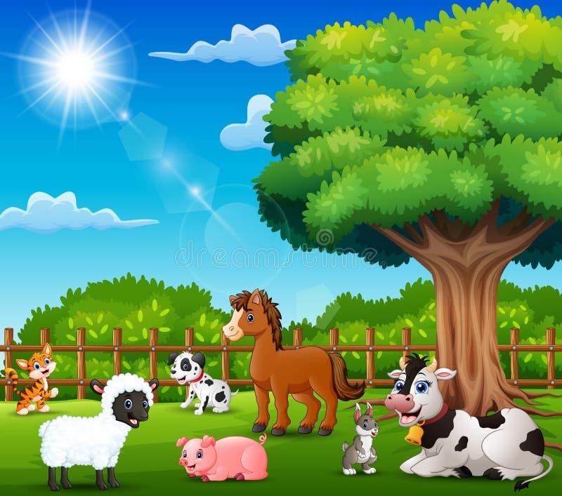Les animaux de ferme apprécient la nature par la cage illustration de vecteur