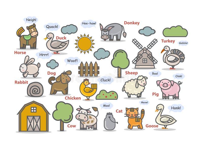 Les animaux de ferme ont placé l'icône, pictogramme Caractère d'animaux d'ensemble de vecteur illustration stock