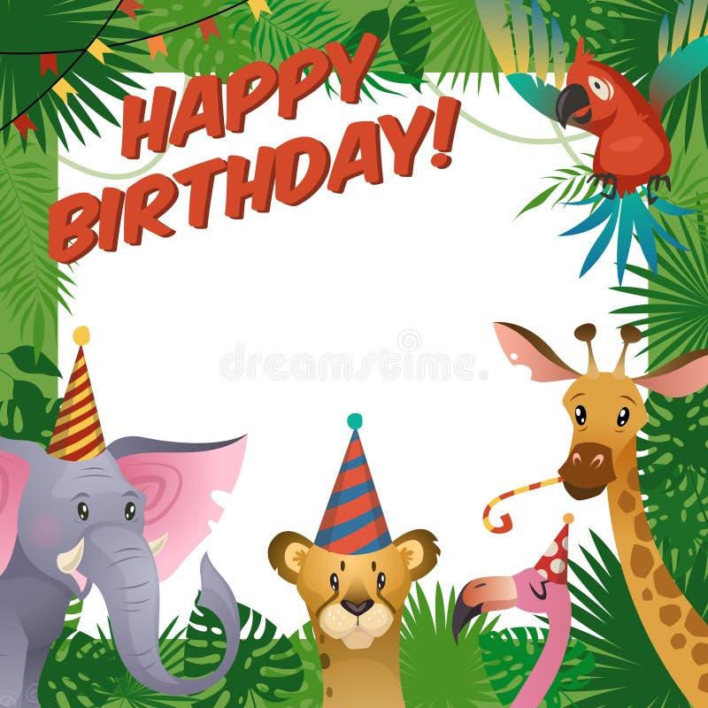 Les animaux de jungle font la fête la carte Le zoo tropical de salutation de fête de naissance de joyeux anniversaire célèbrent l illustration stock