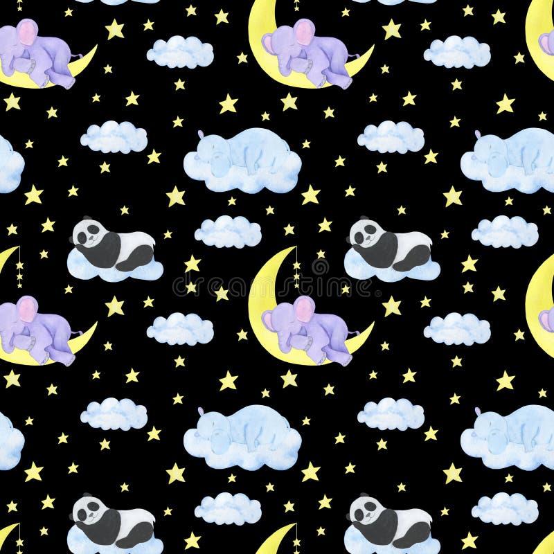 Les animaux de modèle de l'illustration des enfants sans couture dorment panda d'hippopotame d'éléphant que les nuages d'étoiles  illustration de vecteur