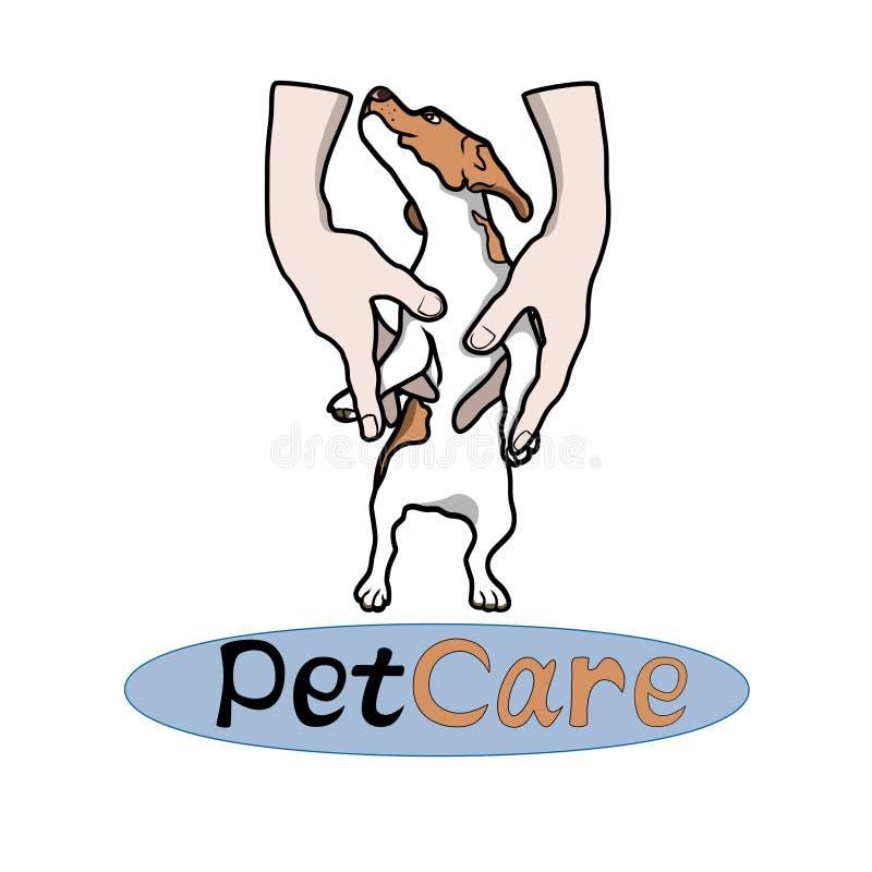 Les animaux familiers DIRIGENT le logo avec le chiot illustration libre de droits