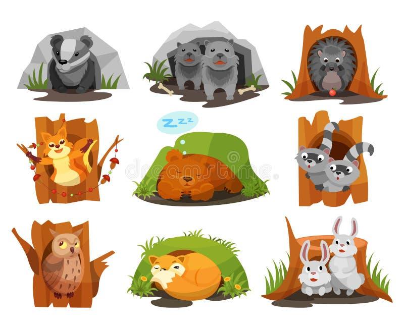 Les animaux mignons se reposant en terriers et cavités placent, harcellent, des petits animaux de loups, hérisson, écureuil, peti illustration stock