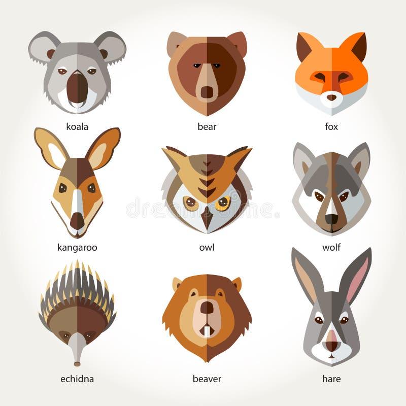 Les animaux ont placé les museaux principaux d'icône illustration de vecteur