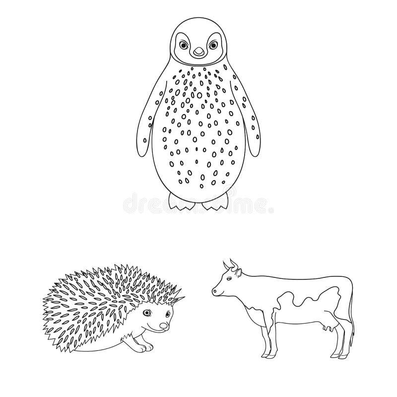Les animaux réalistes décrivent des icônes dans la collection d'ensemble pour la conception Les animaux sauvages et domestiques d illustration libre de droits
