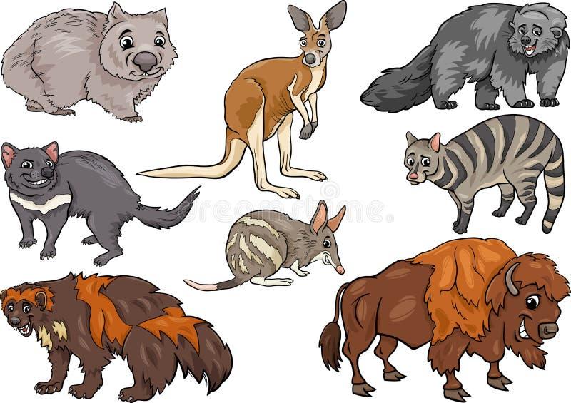 Les animaux sauvages ont placé l'illustration de bande dessinée illustration libre de droits