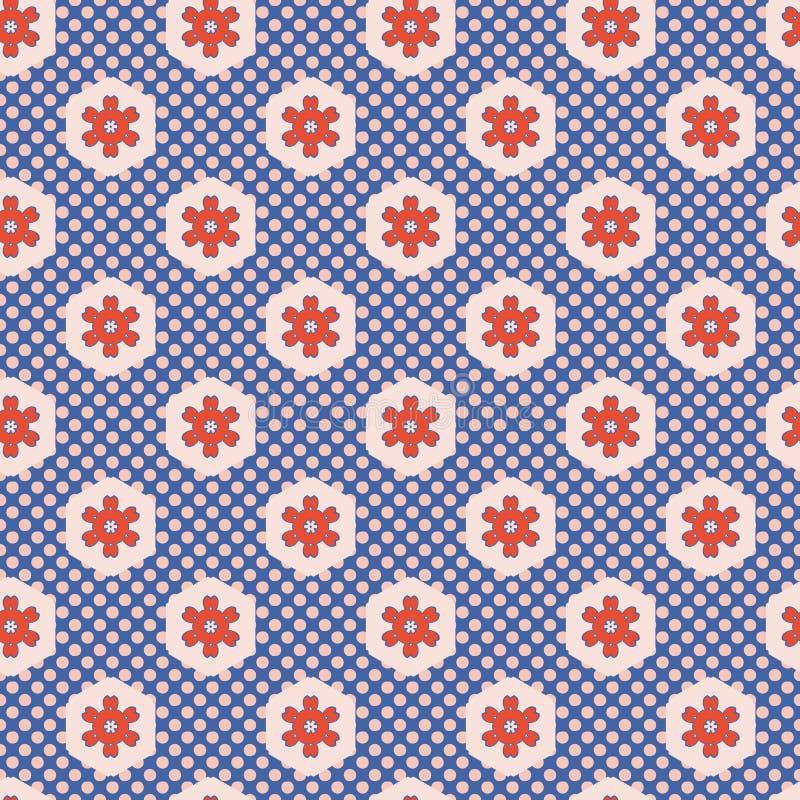 les années 1950 dénomment la polka Dot Seamless Vector Pattern de patchwork d'hexagone illustration de vecteur