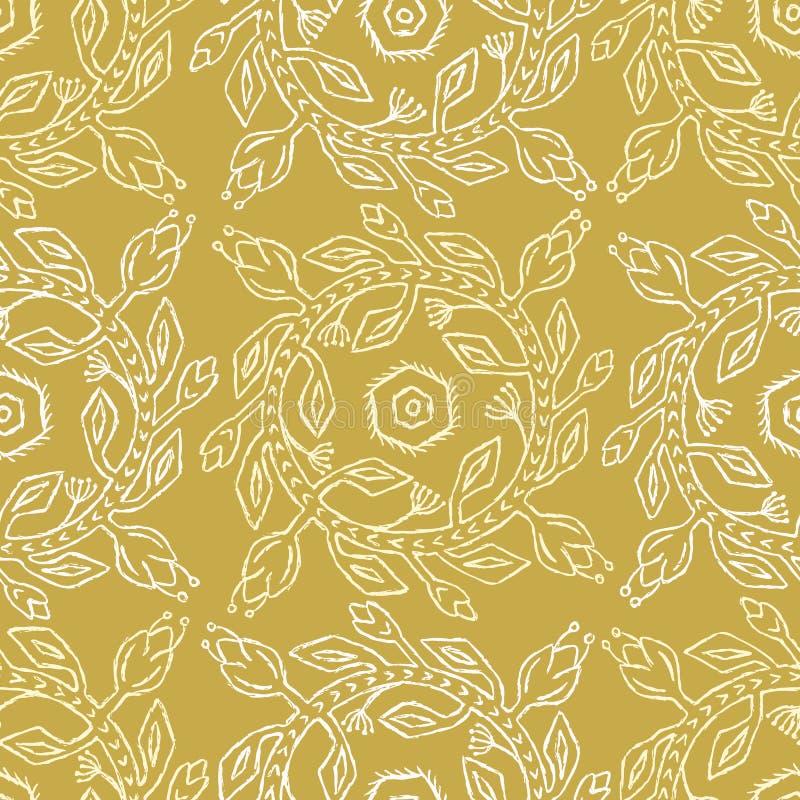 les années 1950 dénomment le modèle sans couture de vecteur de rétro guirlande de fleur Cercle floral folklorique illustration de vecteur