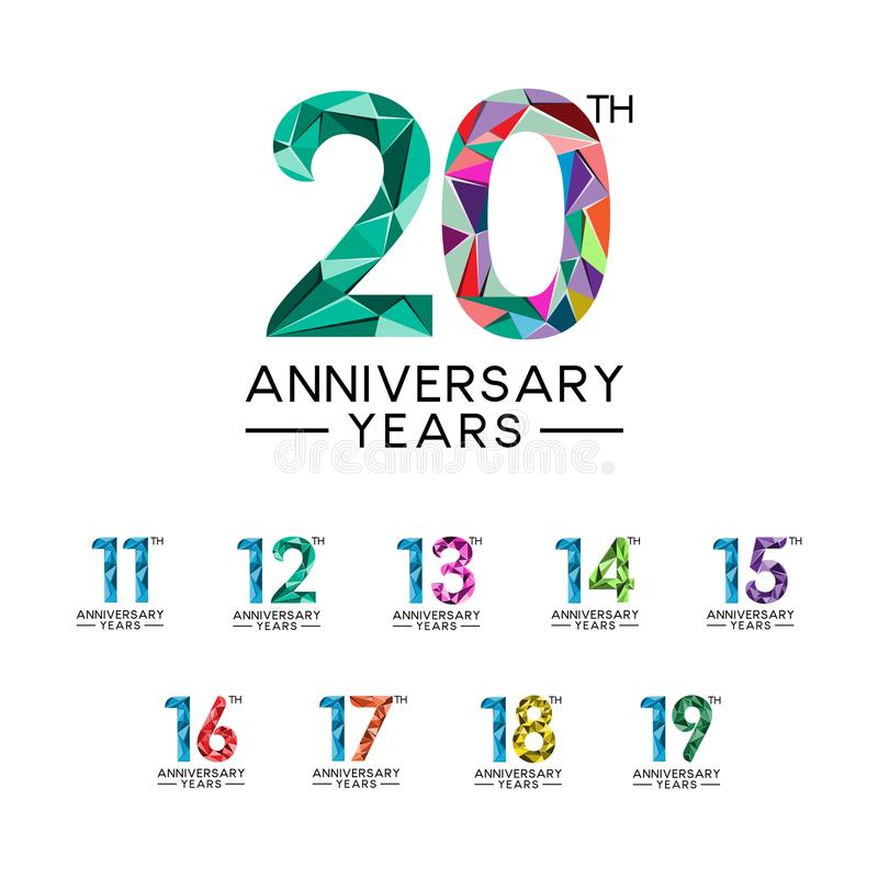 Les années d'anniversaire de l'ensemble 11 à 20 soustraient polychrome moderne de triangle illustration de vecteur