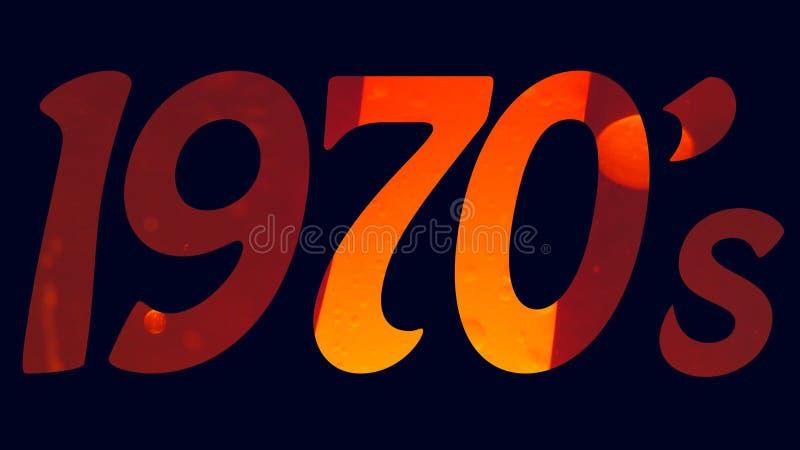 les années '70 des années 1970 intitulent le logo avec un fond bleu et une lampe orange de lave a rempli texte illustration stock