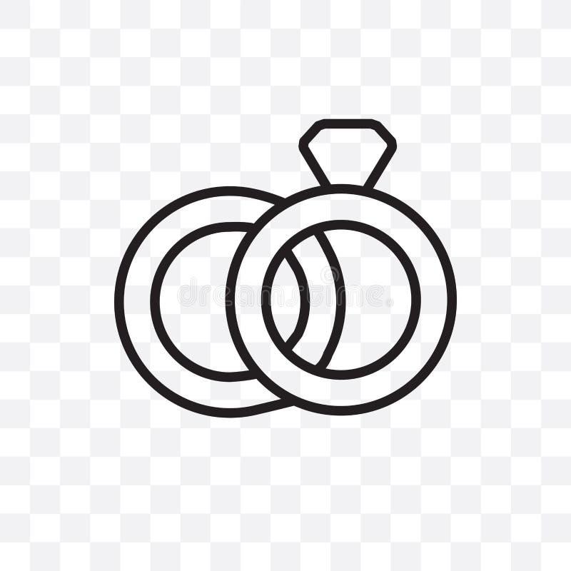 Les anneaux de mariage dirigent l'icône linéaire d'isolement sur le fond transparent, le concept de transparent d'anneaux de mari illustration de vecteur