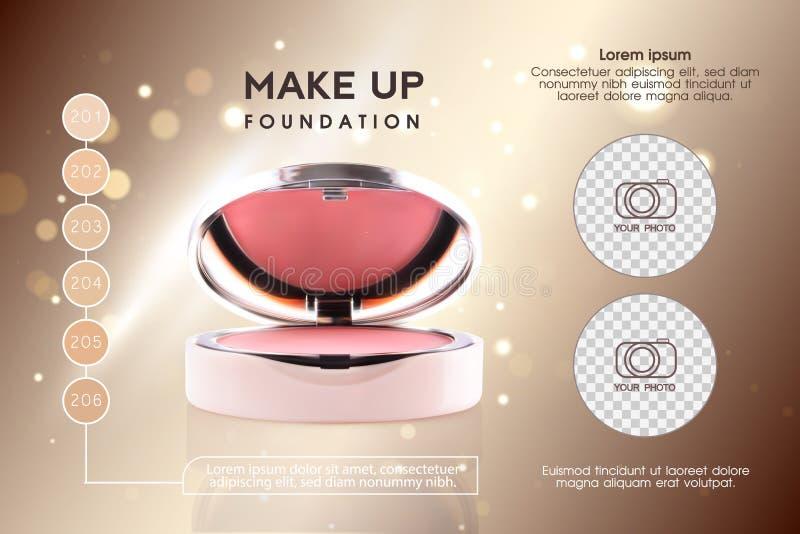 Les annonces cosmétiques, la joue 3D rose rougissent ou composent des annonces de poudre de promotion Fond moderne de paquet de c illustration libre de droits