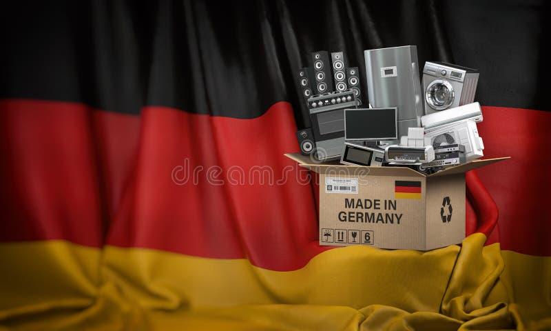 Les appareils électroménagers ont fait en Allemagne Les techniques à la maison de cuisine dans une boîte en carton producted et o illustration libre de droits