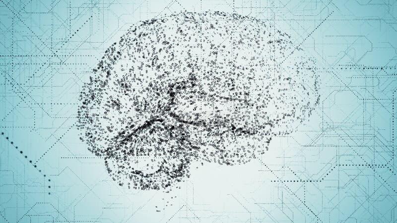 Les apperas bleu-foncé de cerveau d'intelligence artificielle de Digital dans des données binaires balayent illustration de vecteur