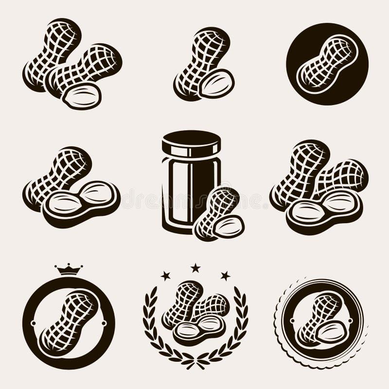 Les arachides marquent et des icônes réglées Vecteur illustration libre de droits