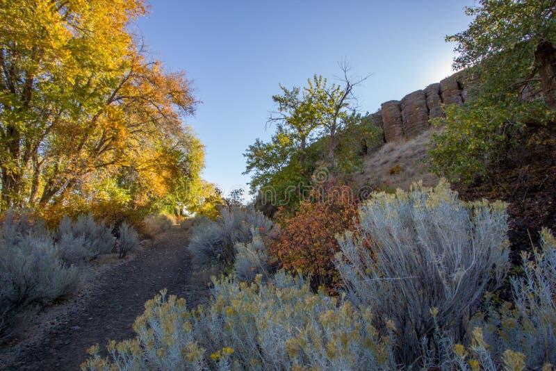 Les arbres colorés d'automne rayent la saleté augmentant le chemin du ranch de montagne de neige photos stock