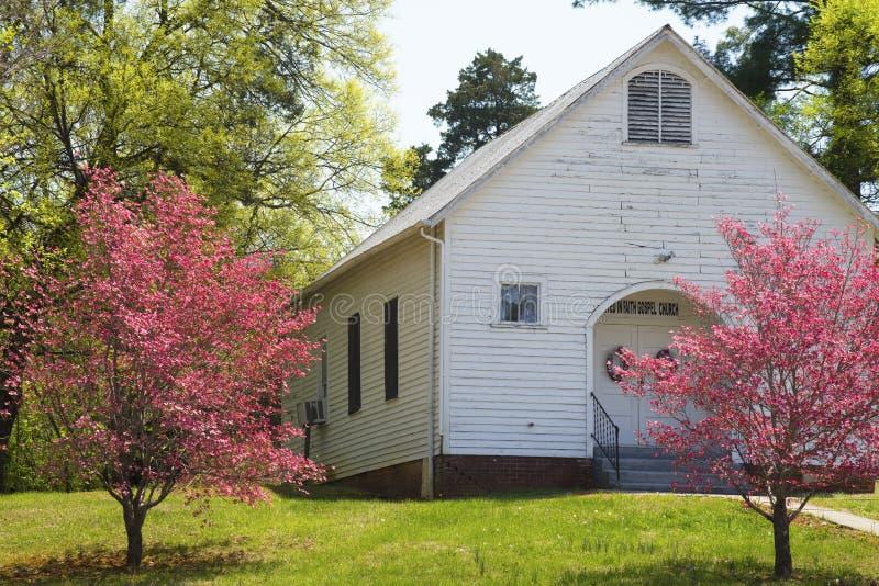 Les arbres de cornouiller rouge fleurissent le long d'une petite église blanche photos stock