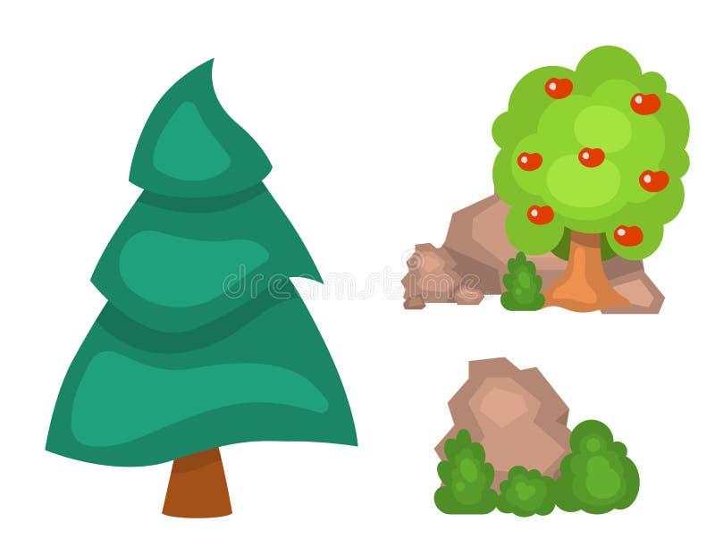 Les arbres de jardin dirigent le paysage de buisson d'usine de vert forêt de nature d'illustration d'éléments de parc de jeu d'he illustration de vecteur