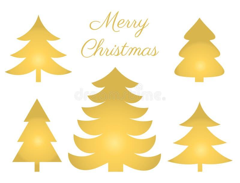 Les arbres de Noël d'or ont placé des icônes illustration libre de droits