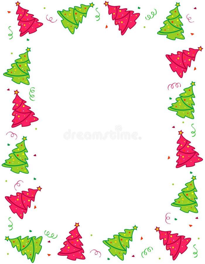 Les arbres de Noël encadrent/trames illustration stock