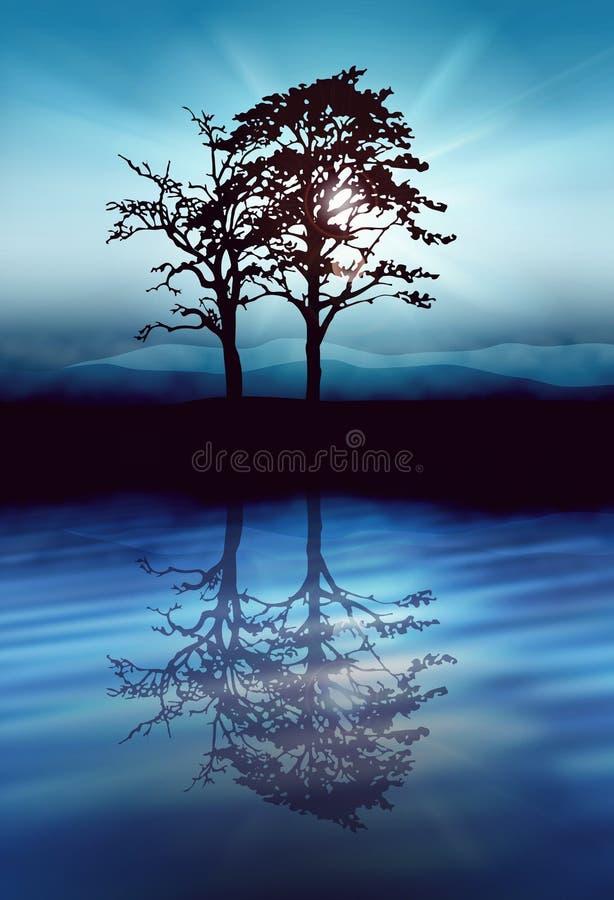 Les arbres de solitude silhouettent des rayons du soleil par des branches illustration de vecteur