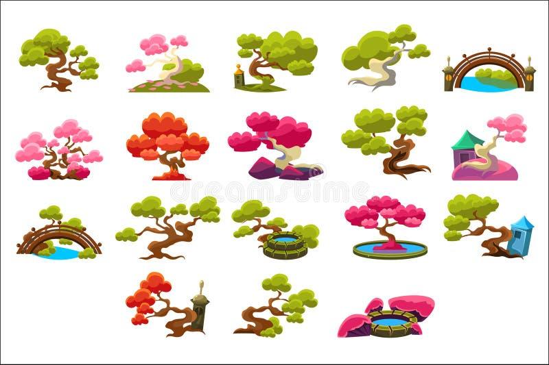 Les arbres de style japonais réglés de couleur lumineuse d'isolement ont simplifié des images de vecteur de style traditionnel su illustration libre de droits