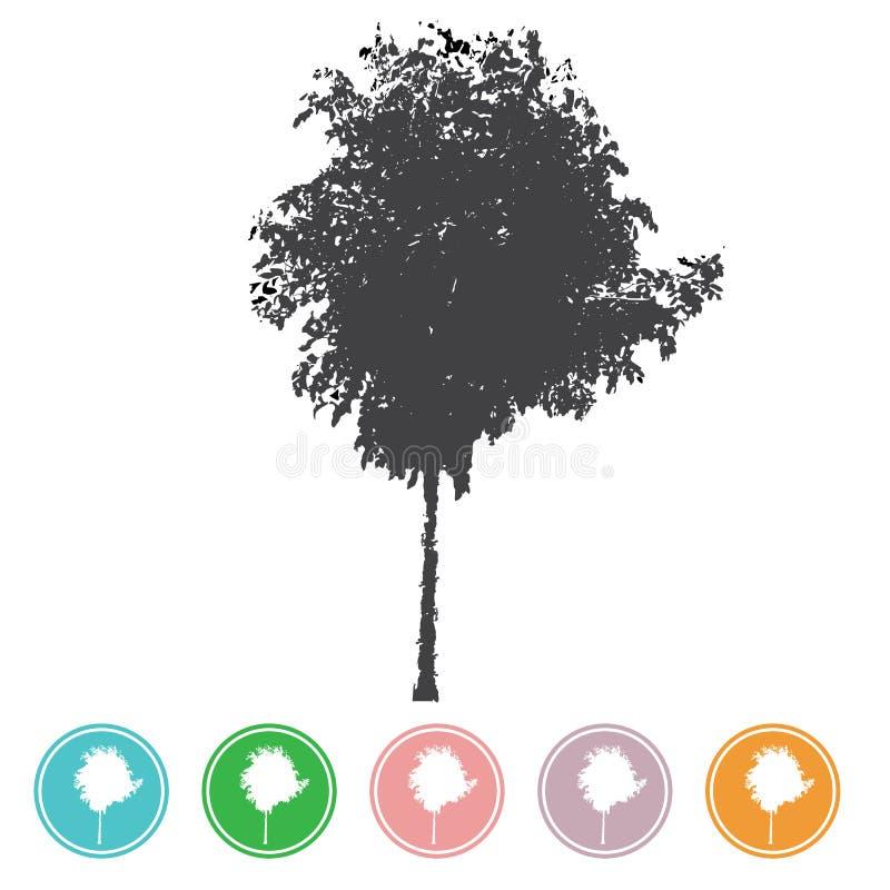 Les arbres de vecteur en silhouettes créent beaucoup d'arbres avec les feuilles a illustration libre de droits