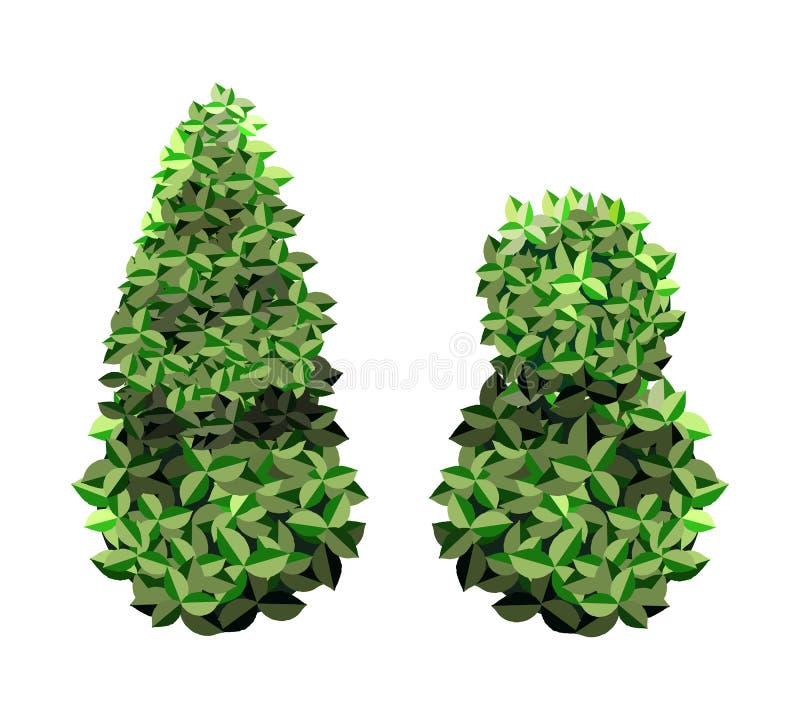 Les arbres du jardin Icônes de végétation des arbres du jardin vert illustration libre de droits
