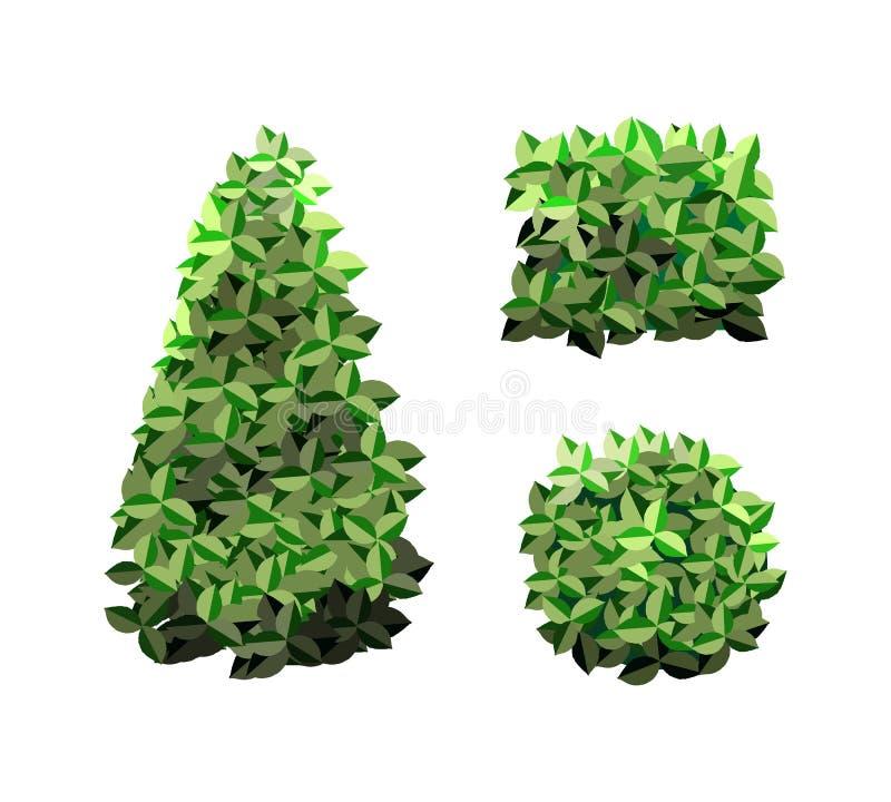 Les arbres du jardin Icônes de végétation des arbres du jardin vert illustration stock