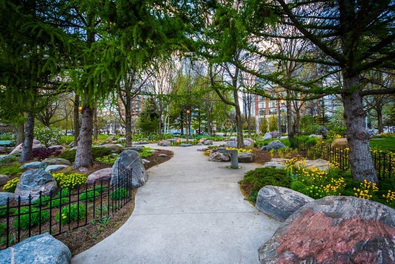 Les arbres et les jardins le long d'un passage couvert à la musique de Toronto font du jardinage, a photographie stock