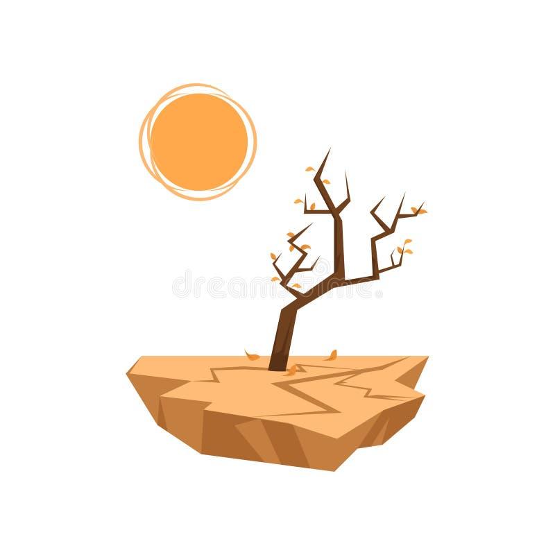 Les arbres morts poussent dans le sol sec d'isolement sur le fond blanc image stock
