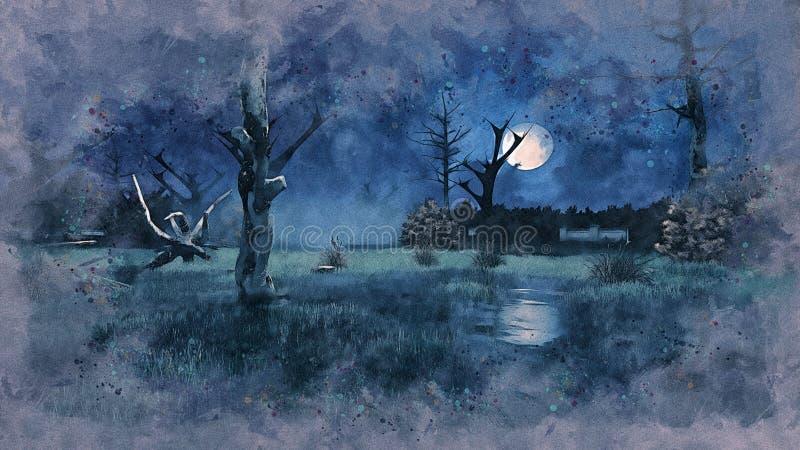 Les arbres morts rampants la nuit inondent le croquis d'aquarelle illustration de vecteur