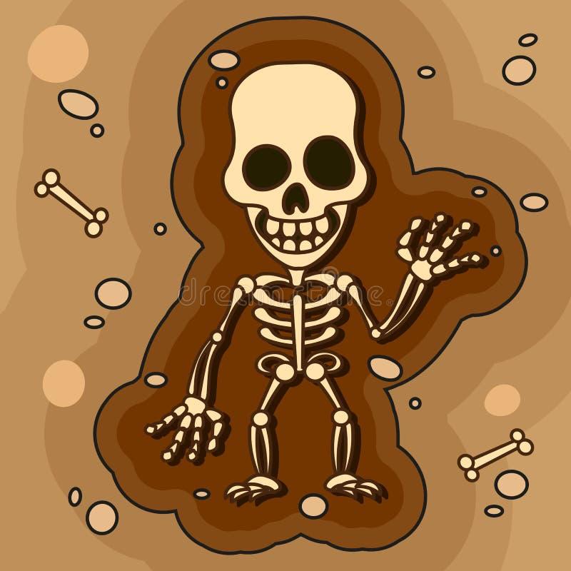 Les archéologues, paléontologues travaillant aux excavations ou creusent une couche de sol avec une pelle et explorent les objets illustration de vecteur