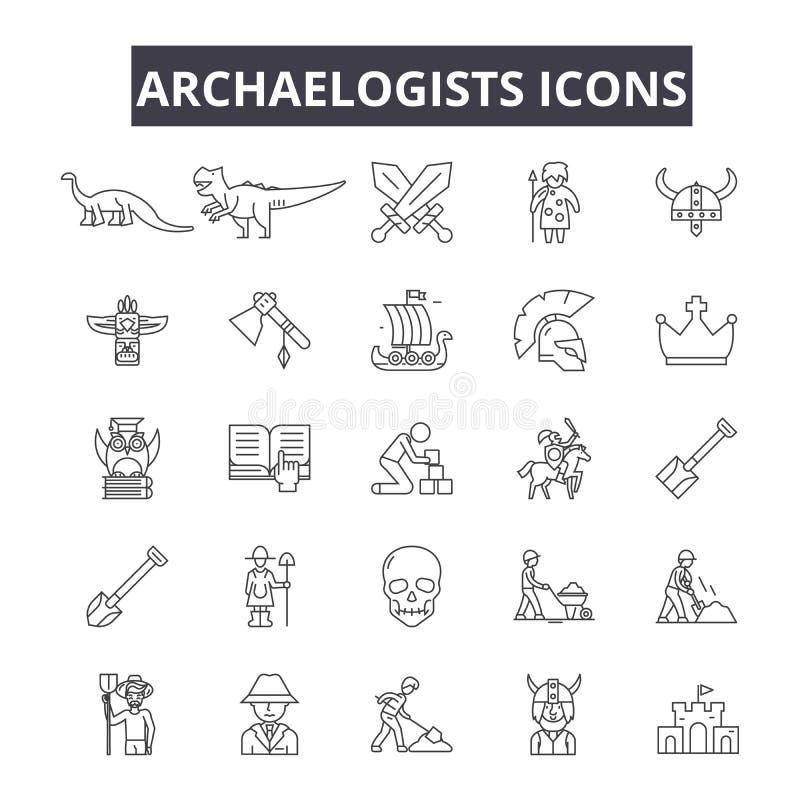 Les archéologues rayent des icônes pour le Web et la conception mobile Signes Editable de course Les archéologues décrivent des i illustration de vecteur