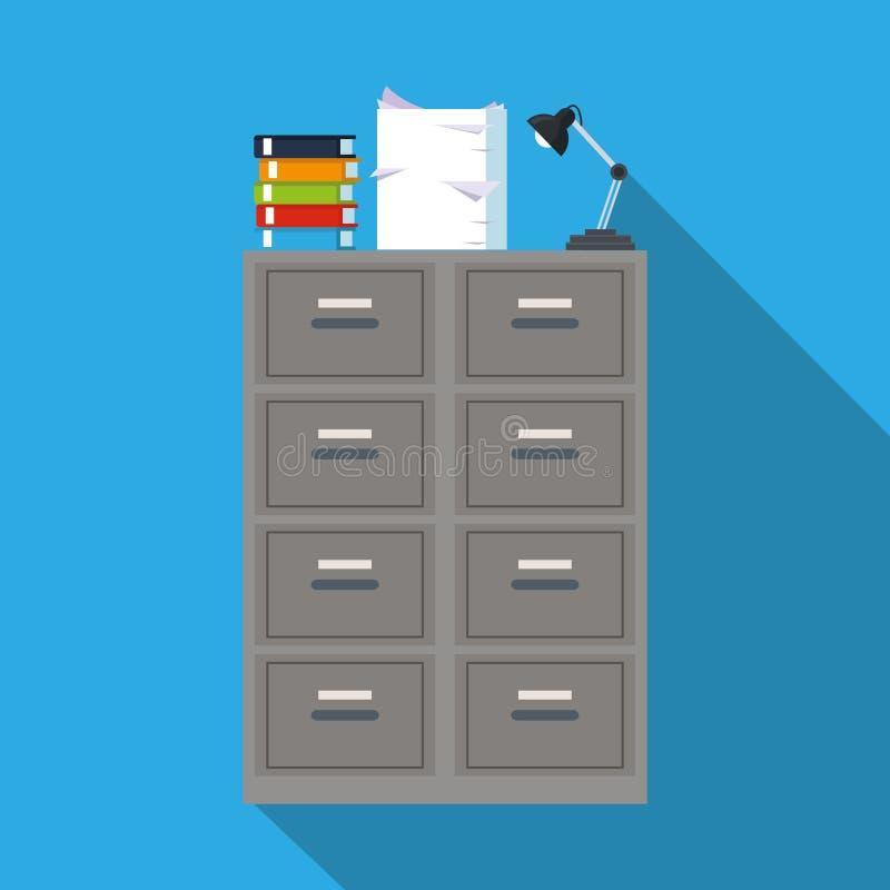 Les archives de dossier de Cabinet réservent le fond de bleu de bureau de lapm de document illustration de vecteur