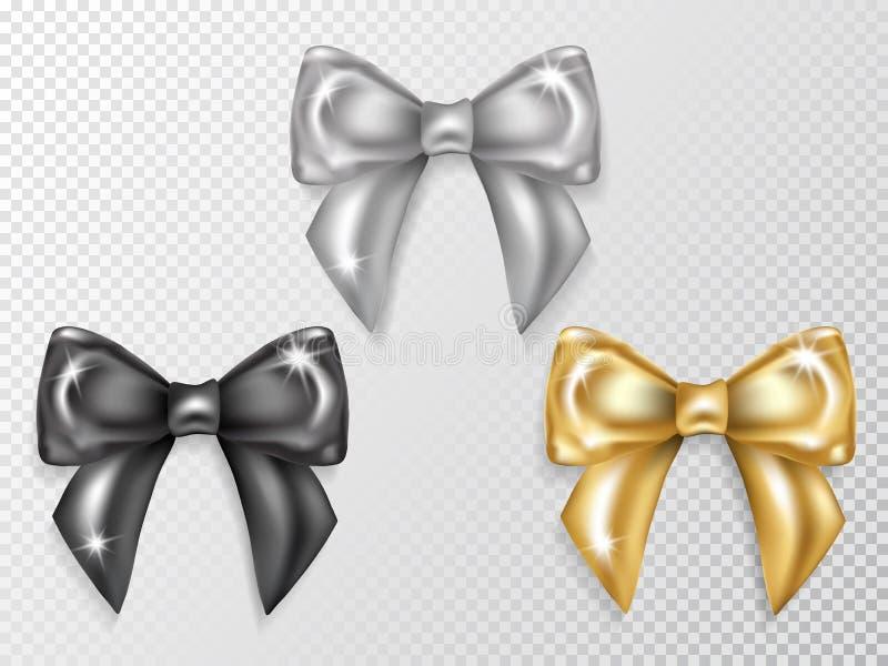 Les arcs de luxe ont placé les noeuds noirs, argentés et d'or illustration de vecteur
